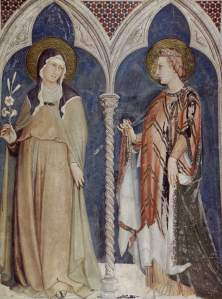 Fresco of Saints Clare and Elizabeth of Hungary by Simone Martini (1322-1326), Lower Basilica of San Francesco, Assisi